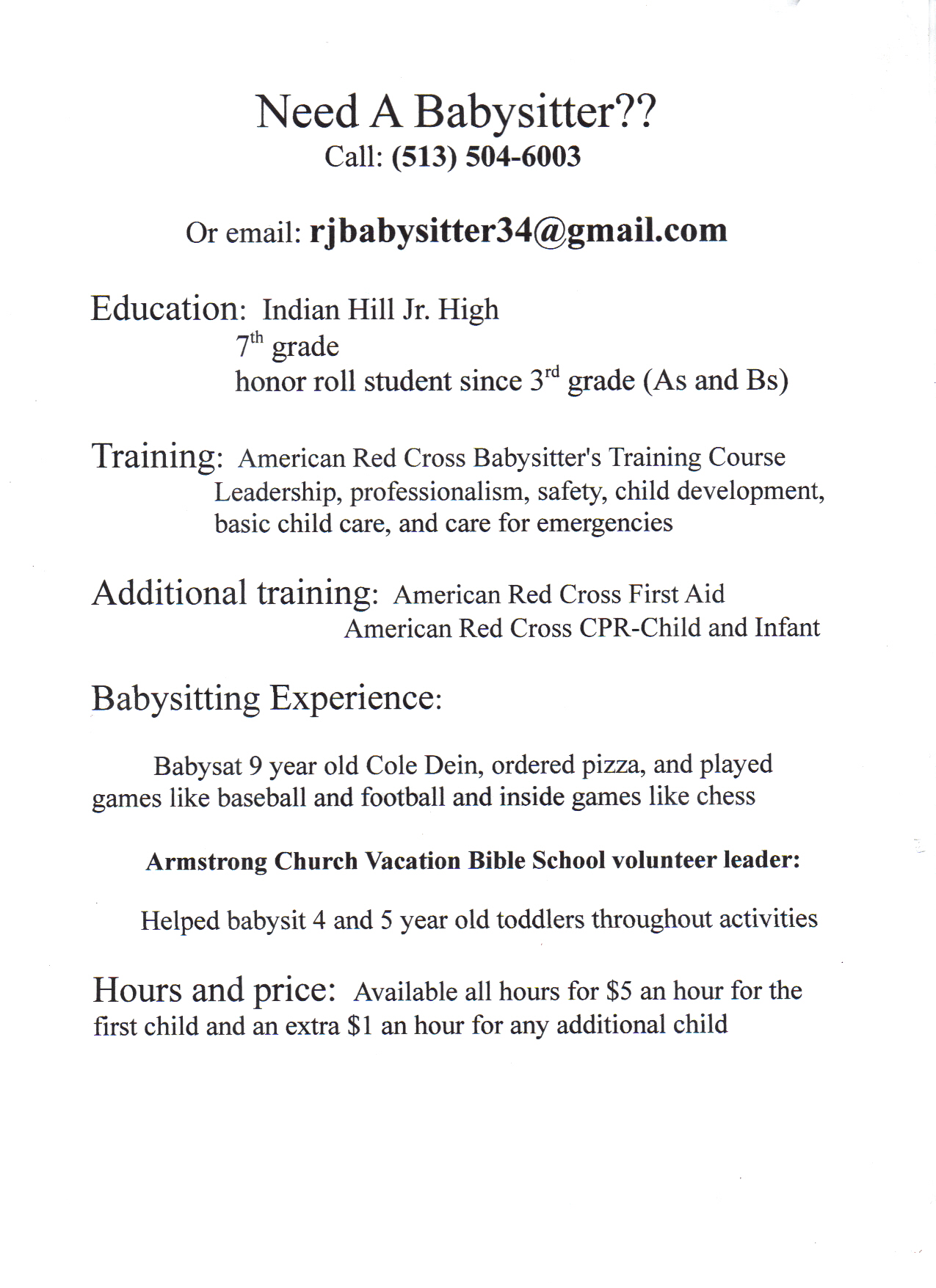 babysitting resume templates babysitting resume resume babysitting ...